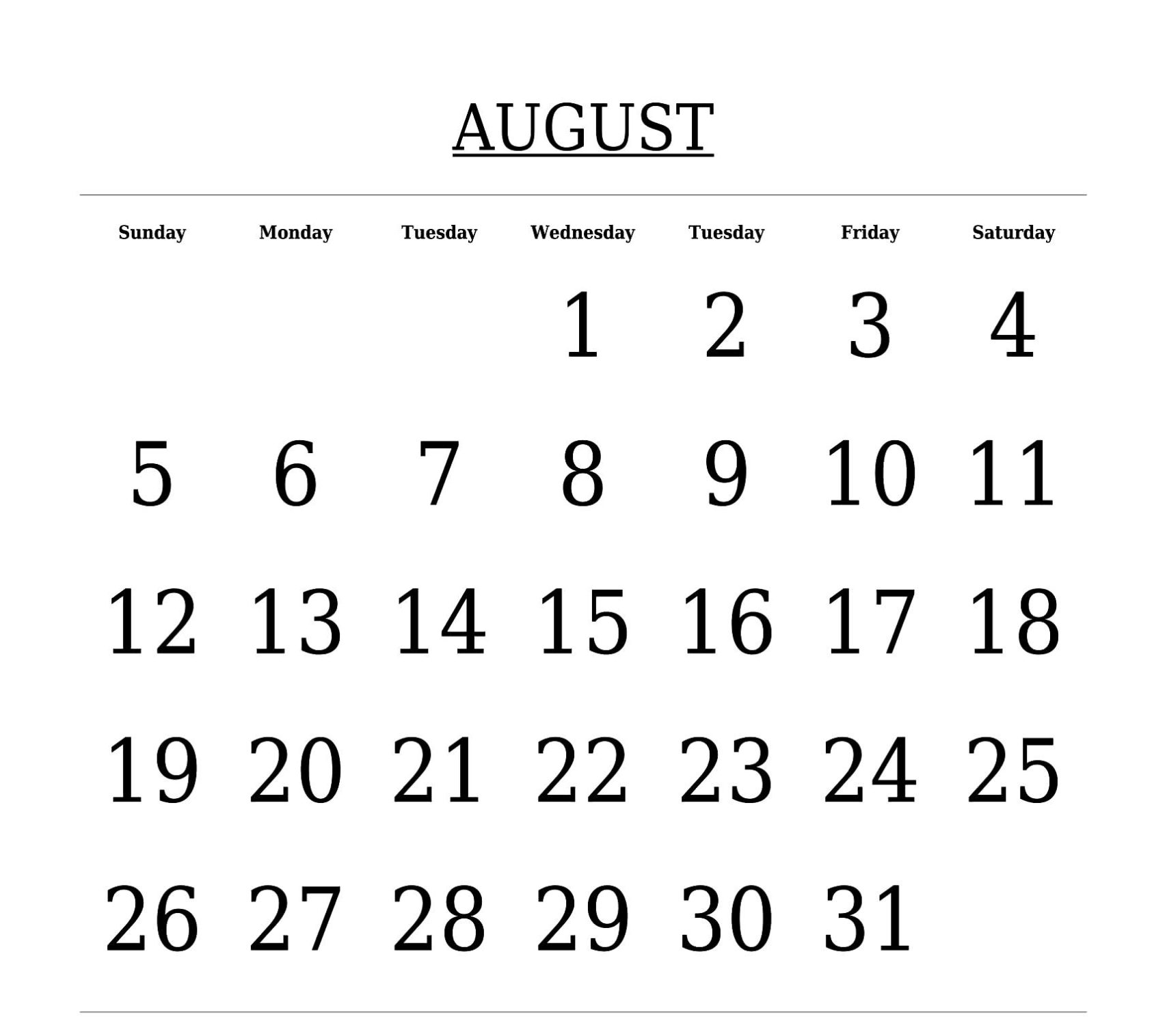 August 2018 Calendar Template In Excel