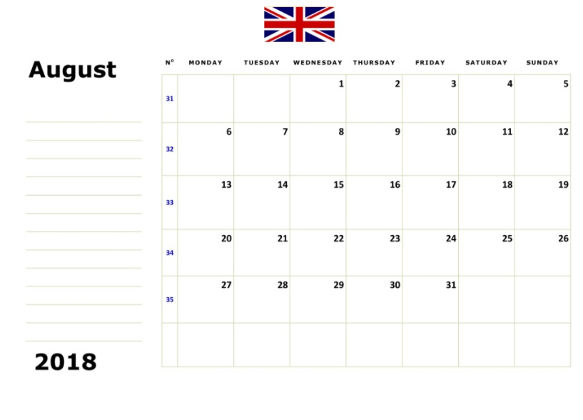August 2018 Calendar UK Bank Holidays