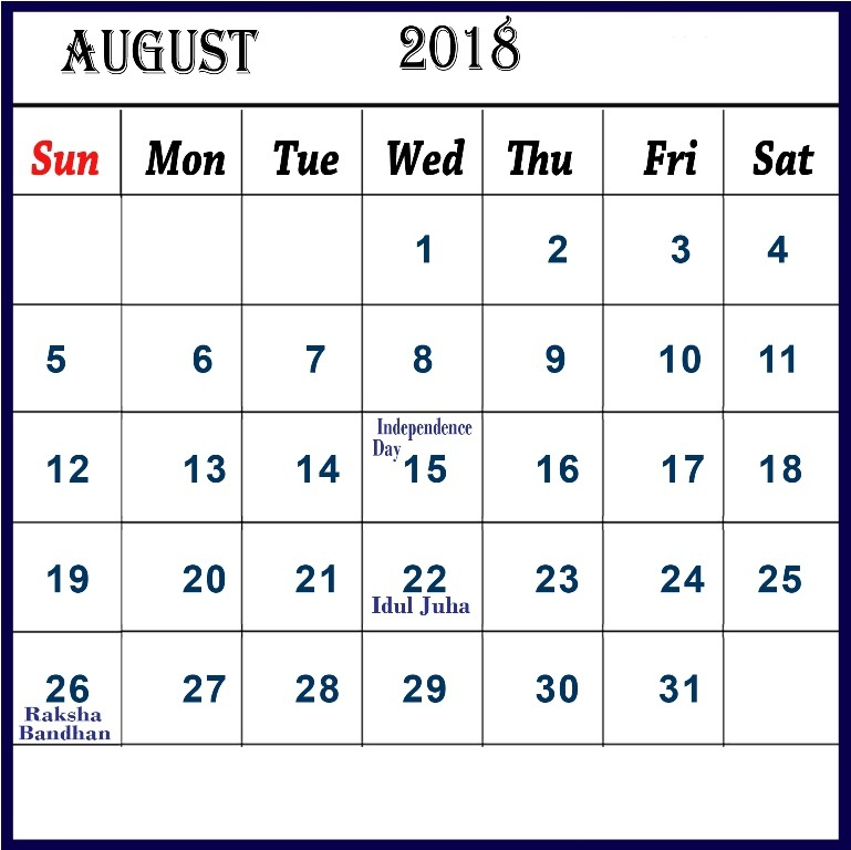 August 2018 Calendar UK With Holidays