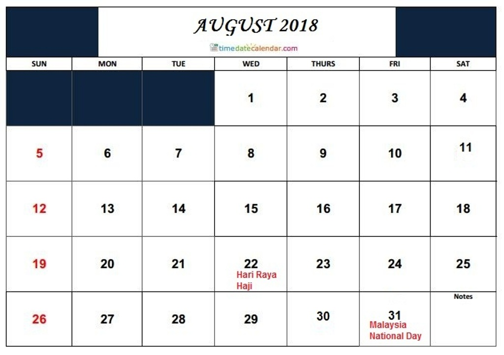 August 2018 Calendar With Holidays Australia