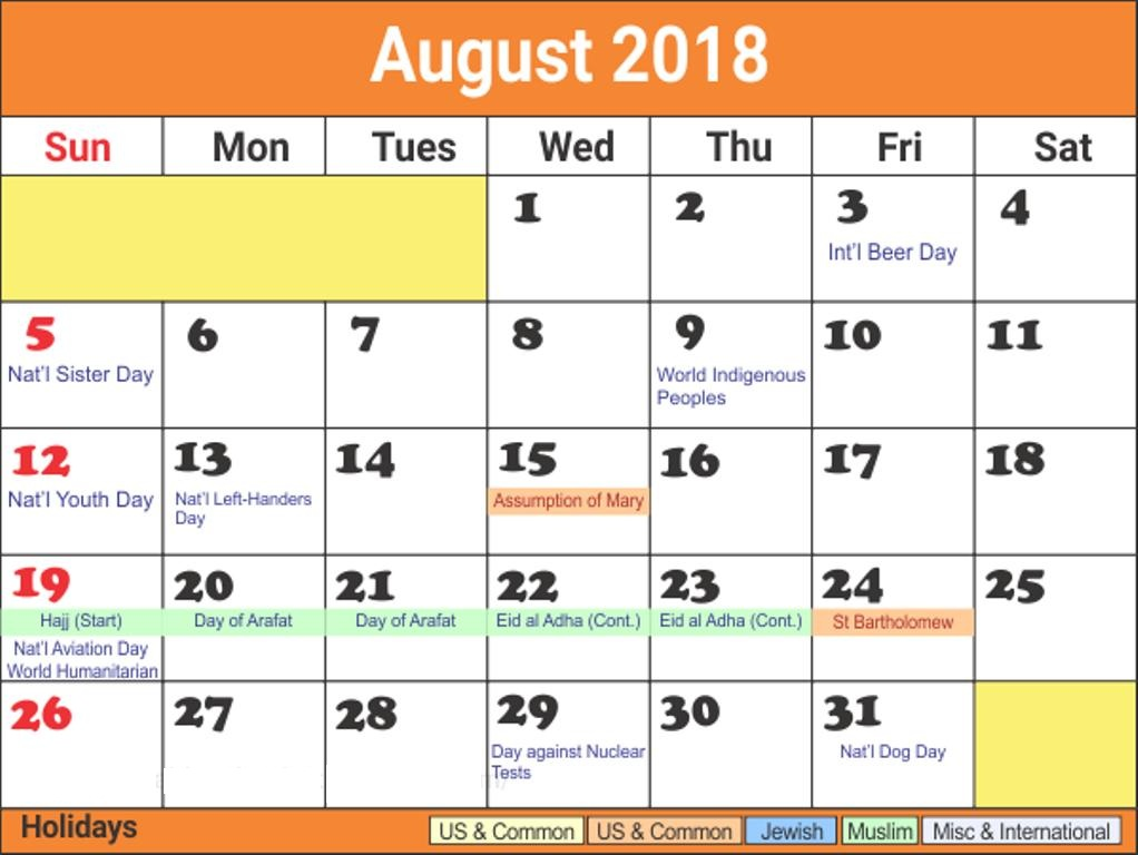 August 2018 Calendar With Holidays Bank and Public