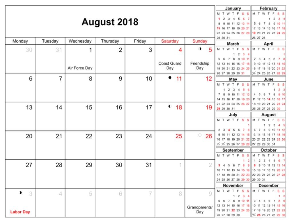 August 2018 Calendar With Holidays Dates