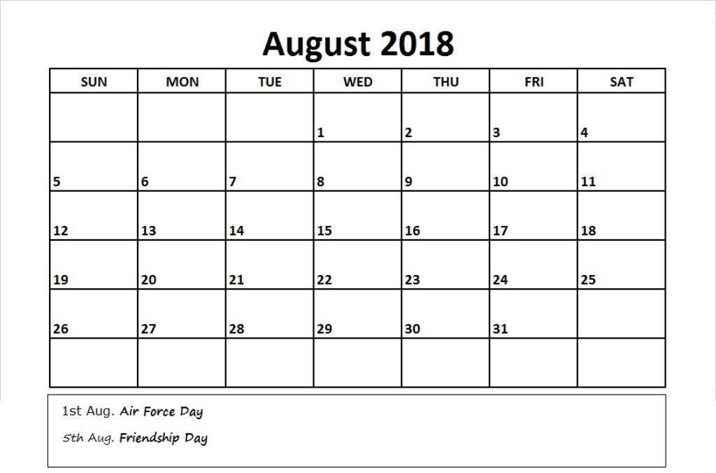 August 2018 Calendar With Holidays Printable Template