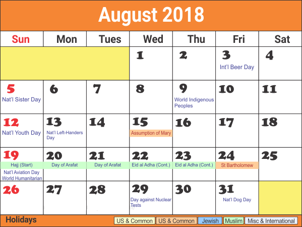August 2018 Calendar With Holidays Template