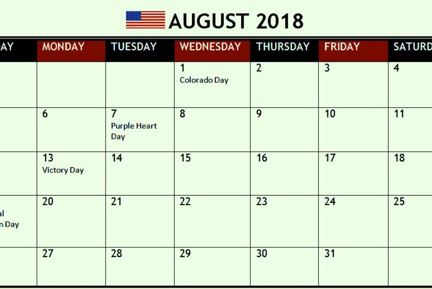 August 2018 Calendar With Holidays UK