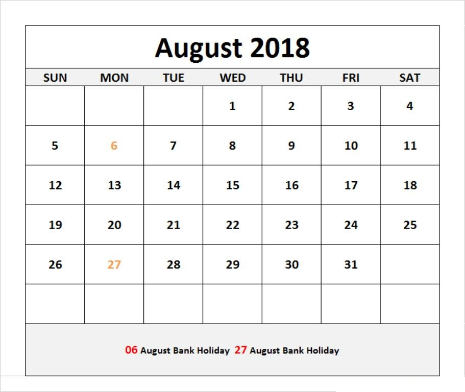 August 2018 Calendar With Holidays and Events