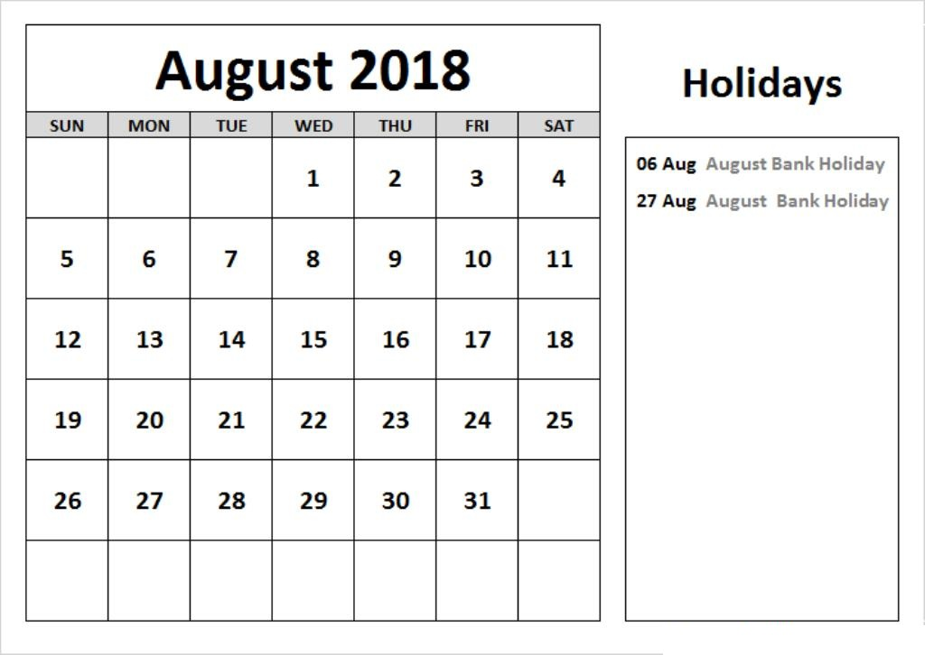 August 2018 Calendar With Holidays and Festivals