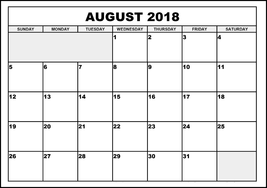 August 2018 Calendar With Notes