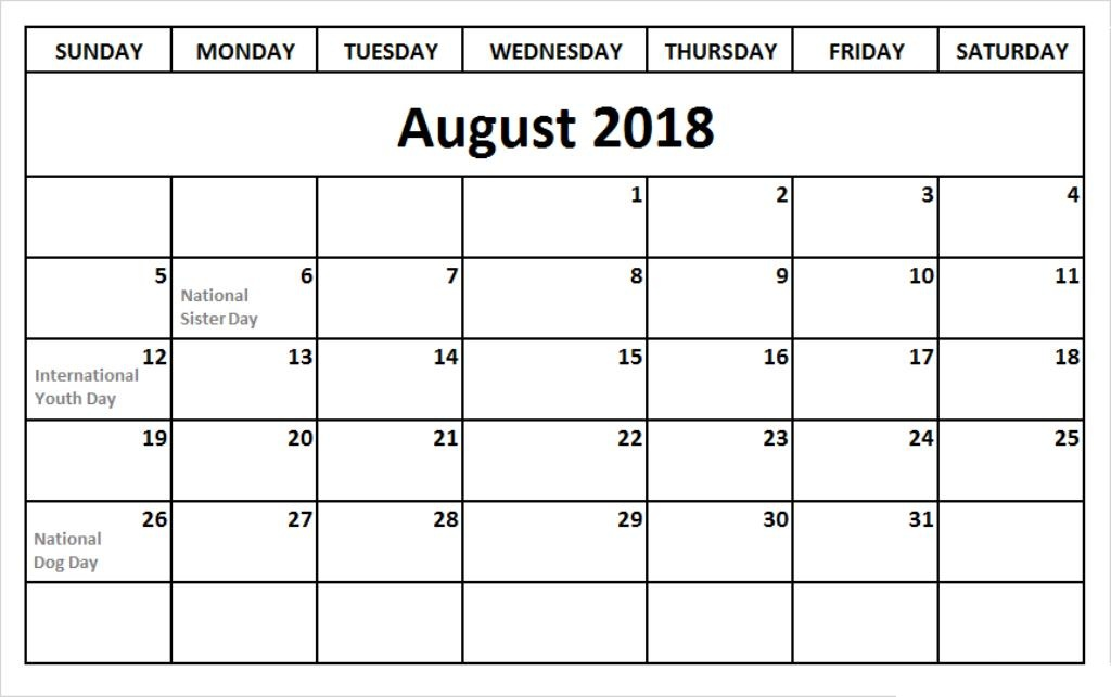 August 2018 Calendar With Template
