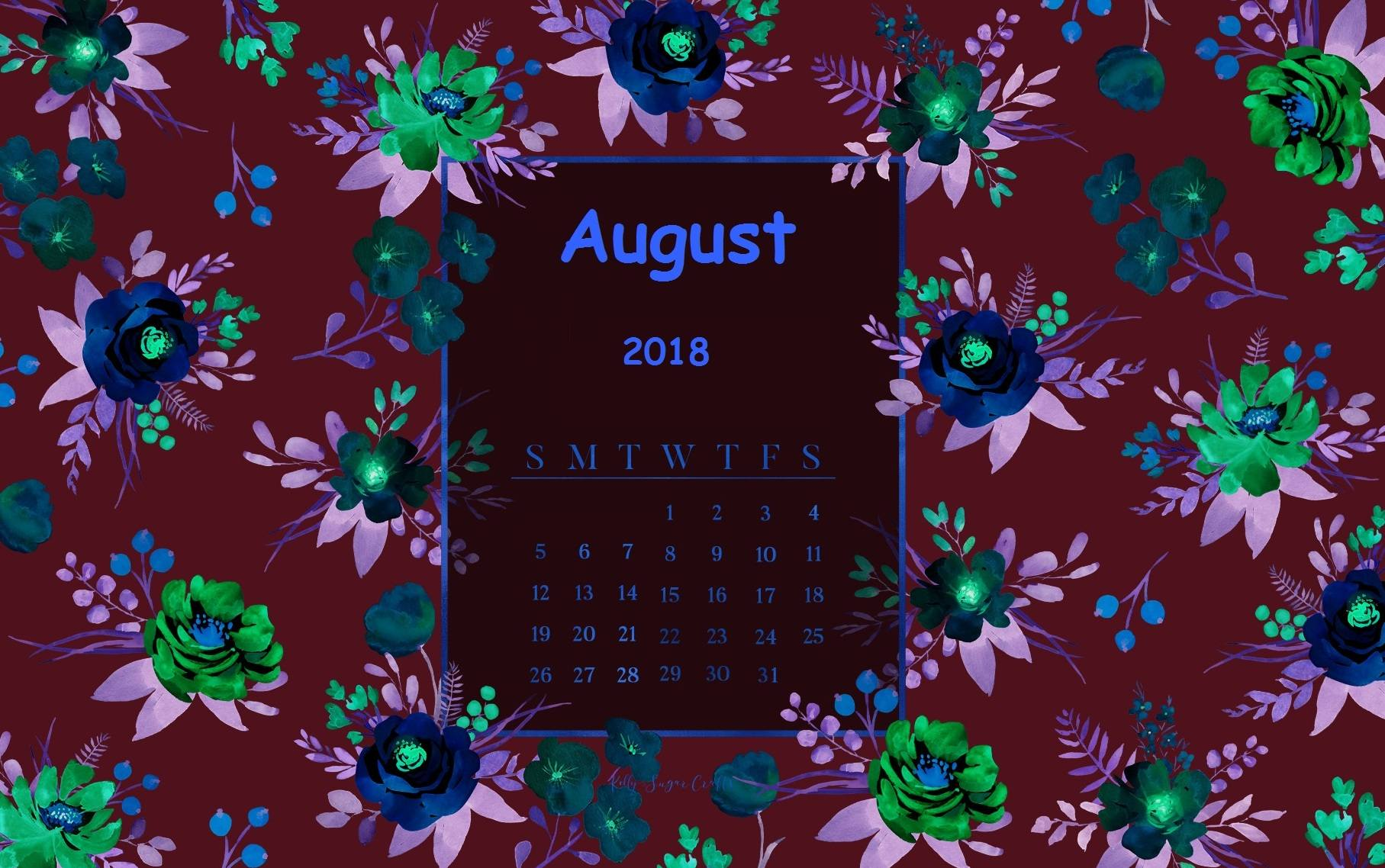 August 2018 Flower Calendar Wallpaper