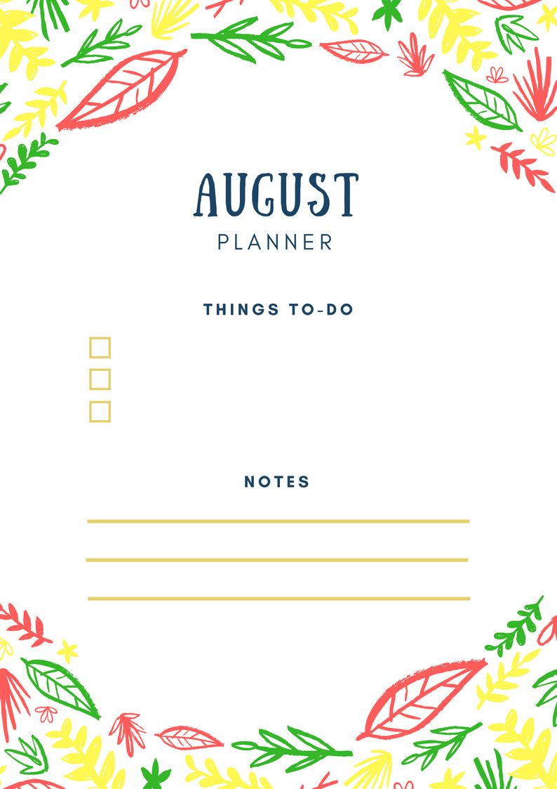 August 2018 Home Planner