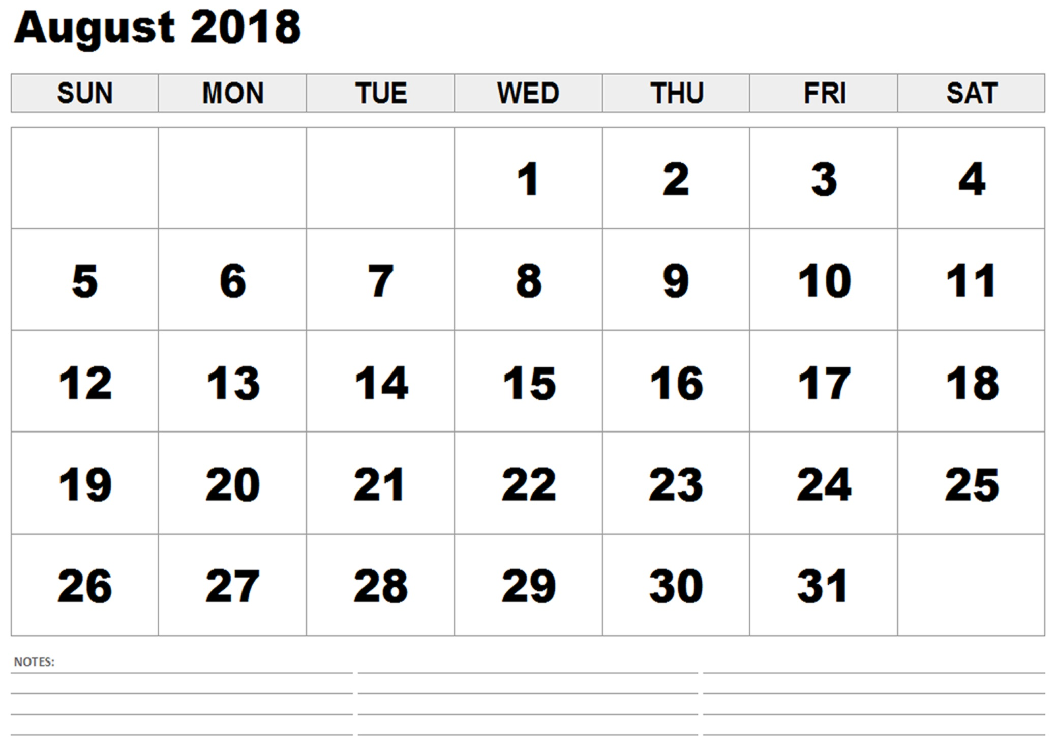 August 2018 Printable Calendar By Month