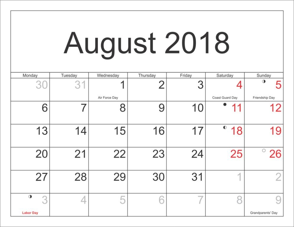August 2018 Printable Calendar With Holidays