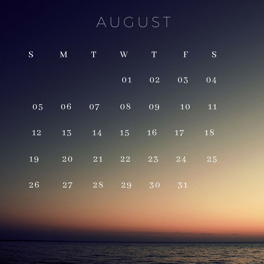 August 2018 iPhone Background Calendar