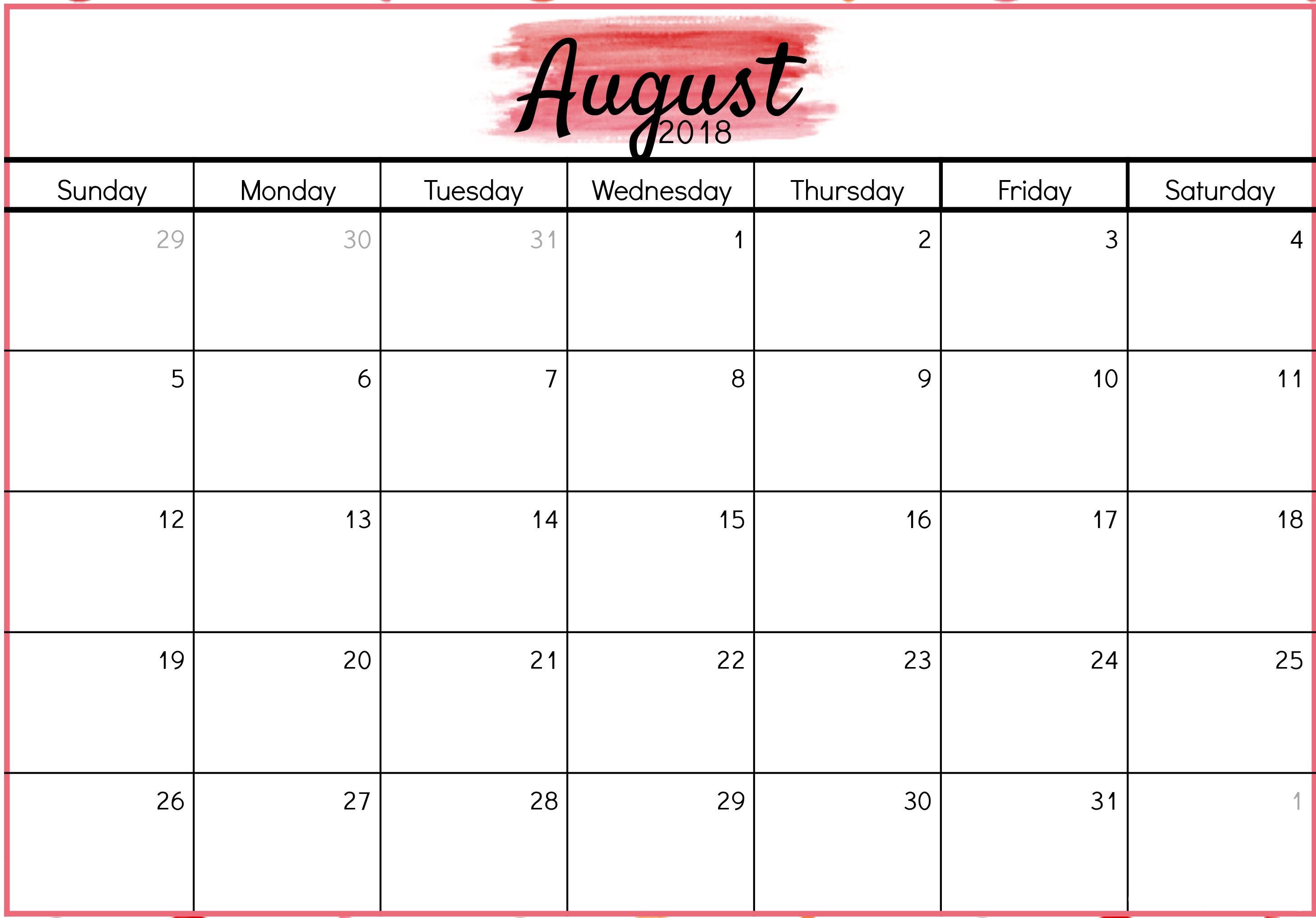 August Calendar 2018 Pdf Template Vertical