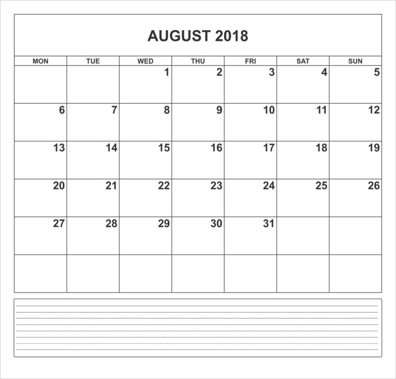 August Calendar 2018 With Notes