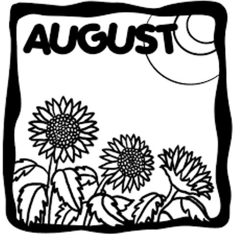 August Clipart Black and White