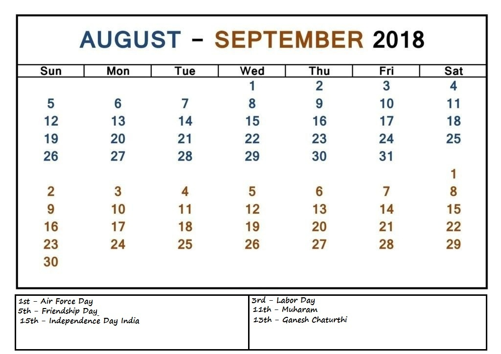 August September 2018 Calendar Events