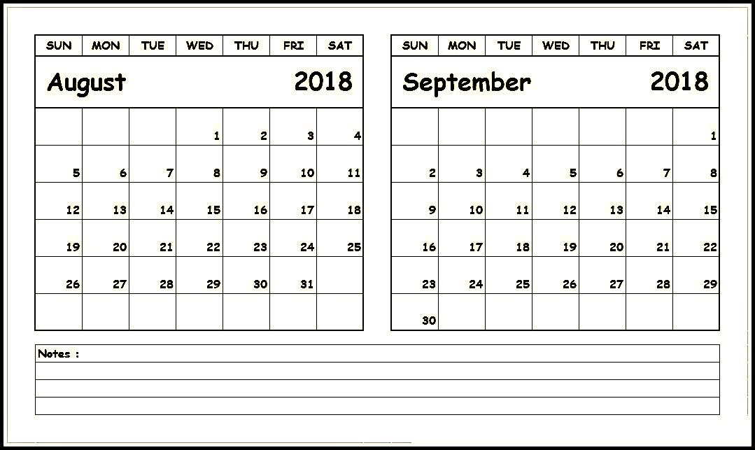 August September 2018 Calendar With Notes