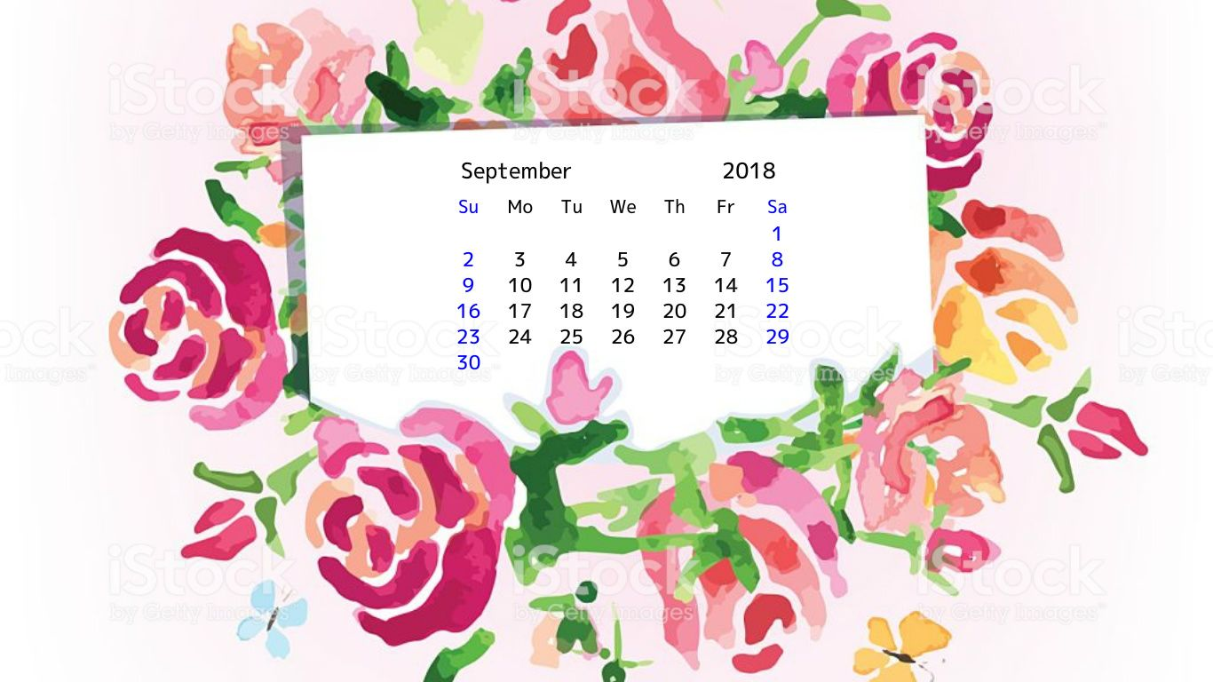 Beautiful September 2018 Floral Calendar