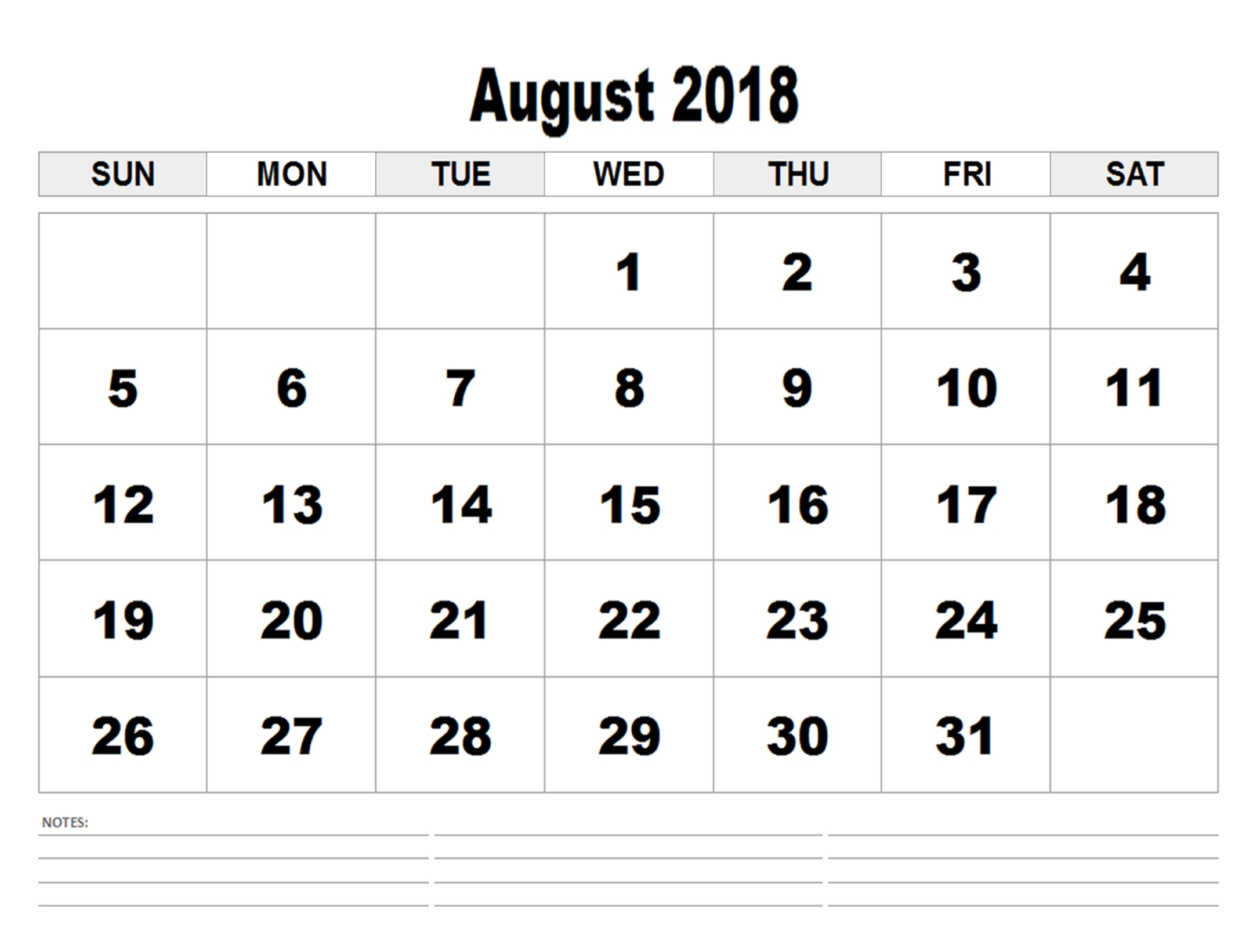 Blank Calendar August 2018 Download