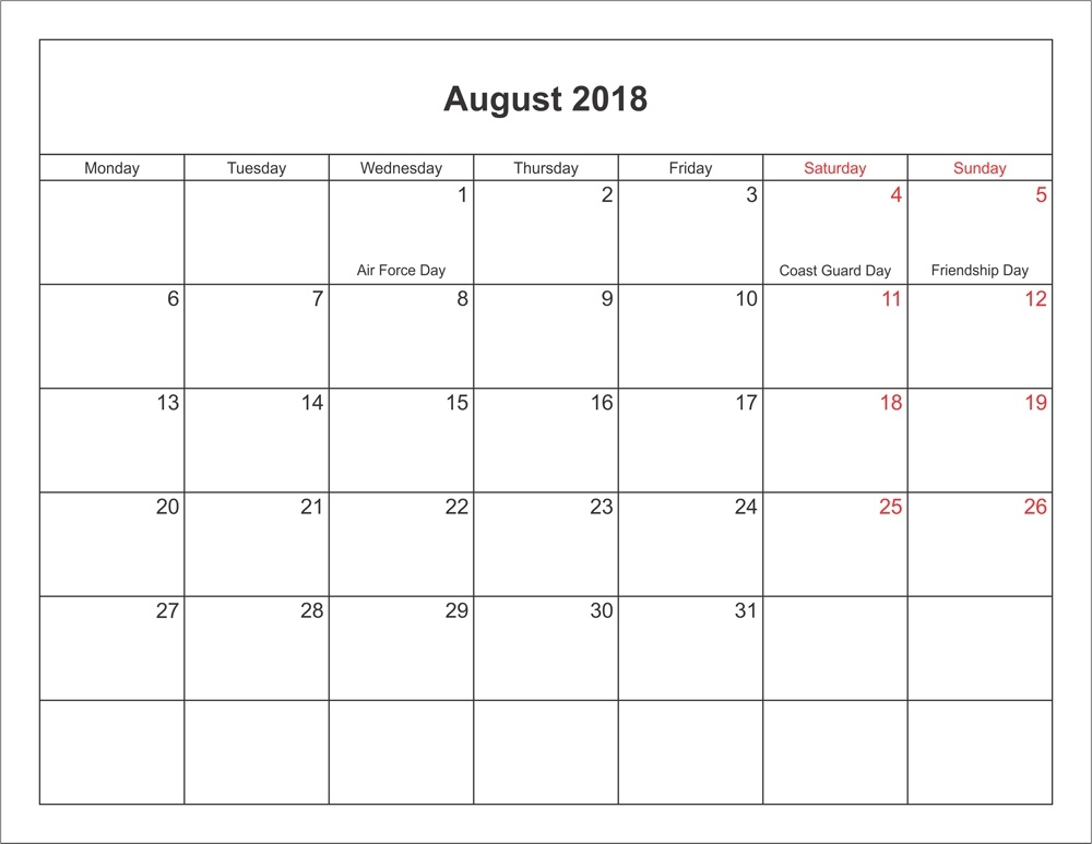 Blank Calendar August 2018 With Holidays