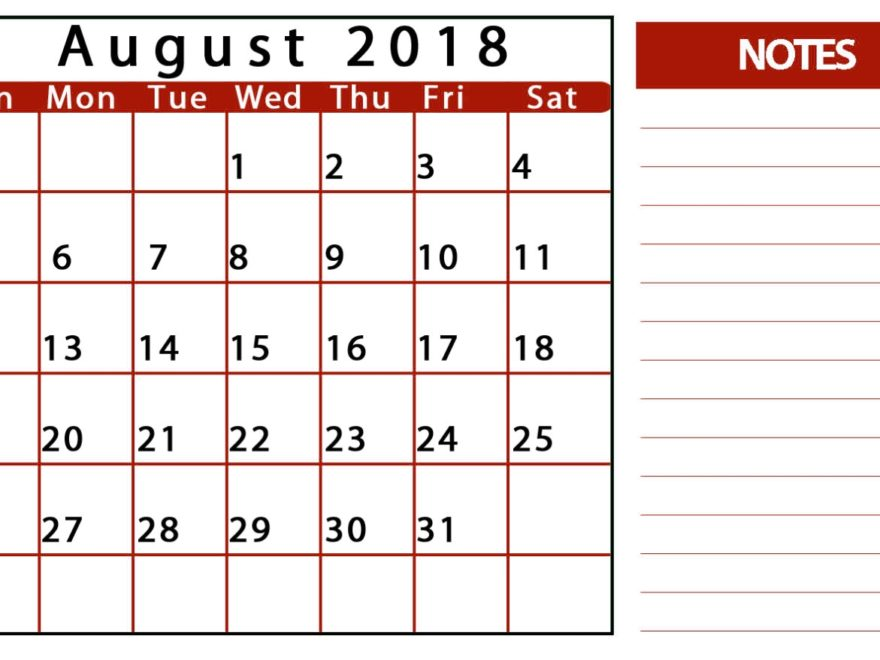 Blank Calendar August 2018 With Notes
