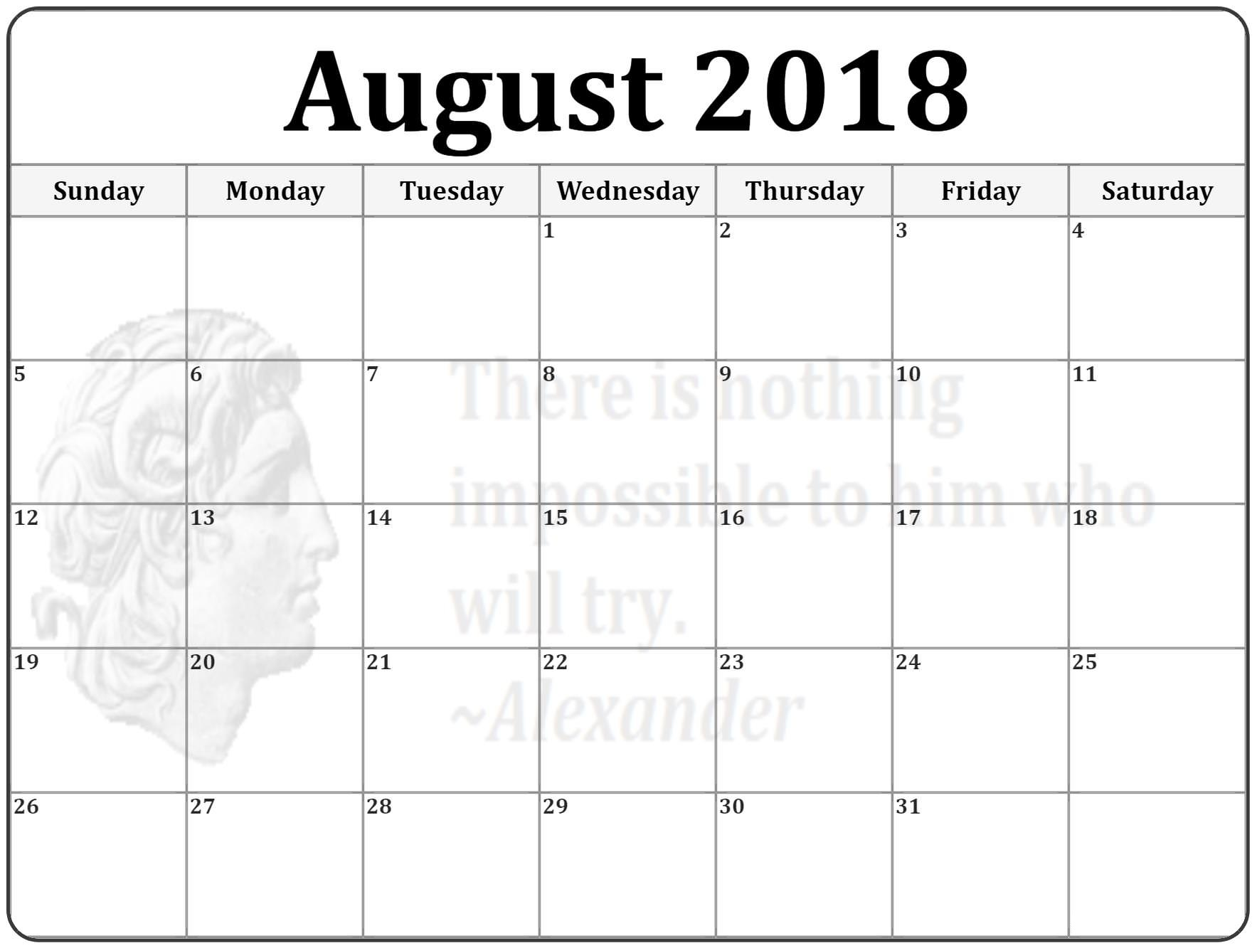 Blank Calendar August 2018 Worksheet