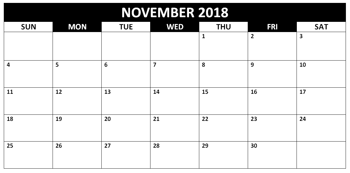 photograph regarding Printable Calendar for November identify November 2018 Printable Calendar Pdf Totally free Every month Template