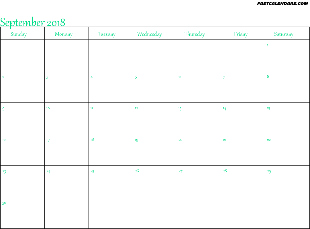 Blank Printable September 2018 Calendar Fontsize