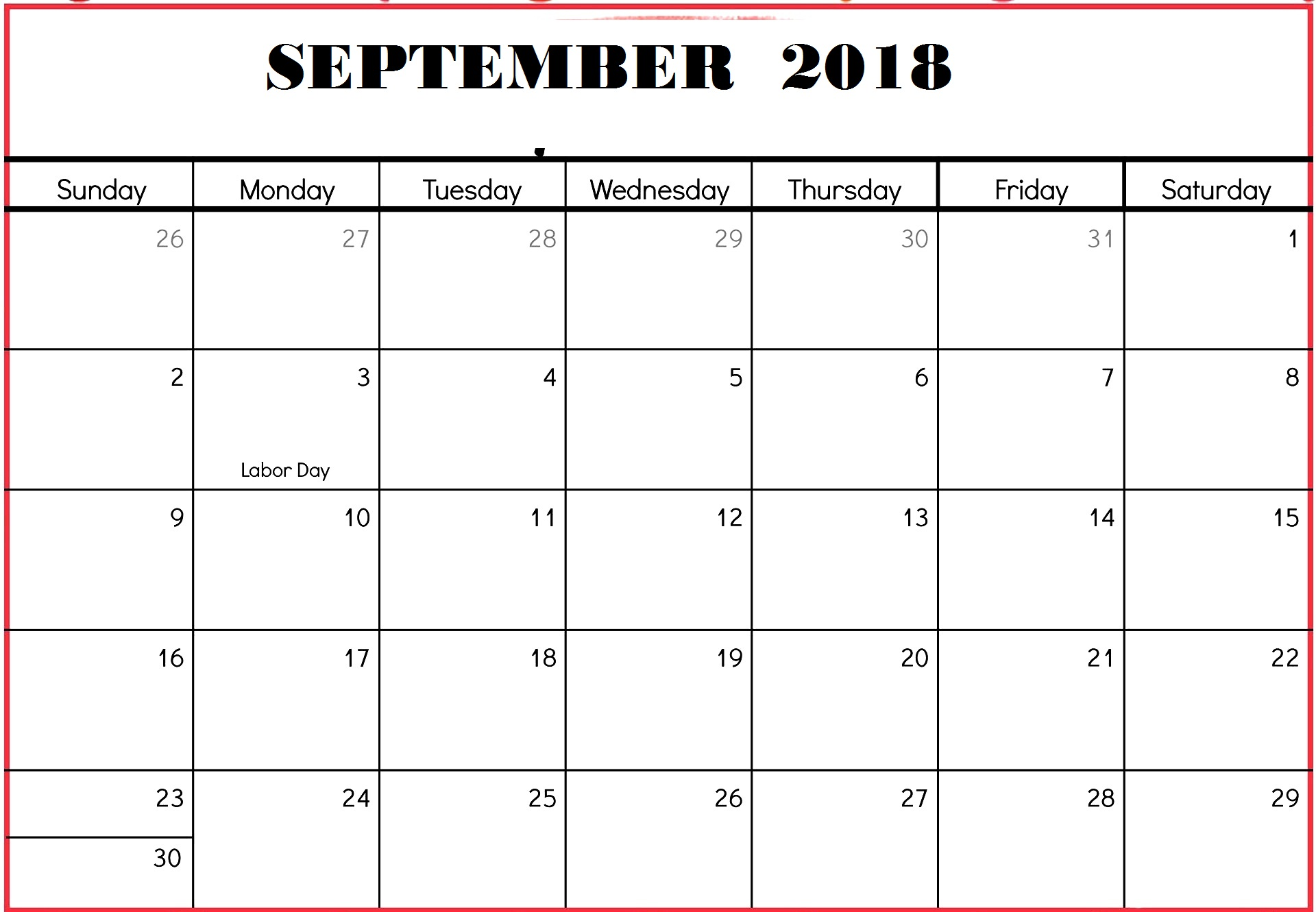 Blank September 2018 Calendar Printable Worksheet