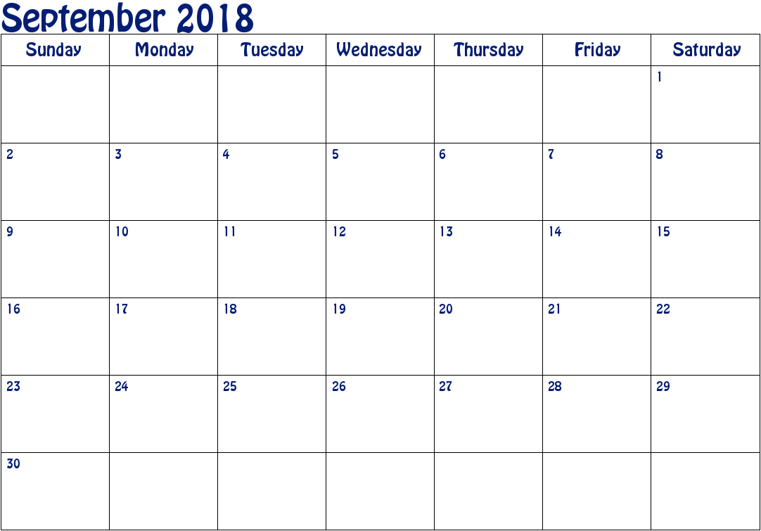 September Month Calendar 2018 Printable Monthly Template