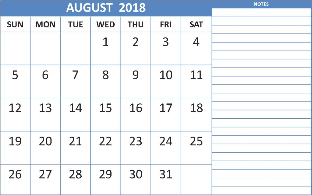 Calendar 2018 August With Notes