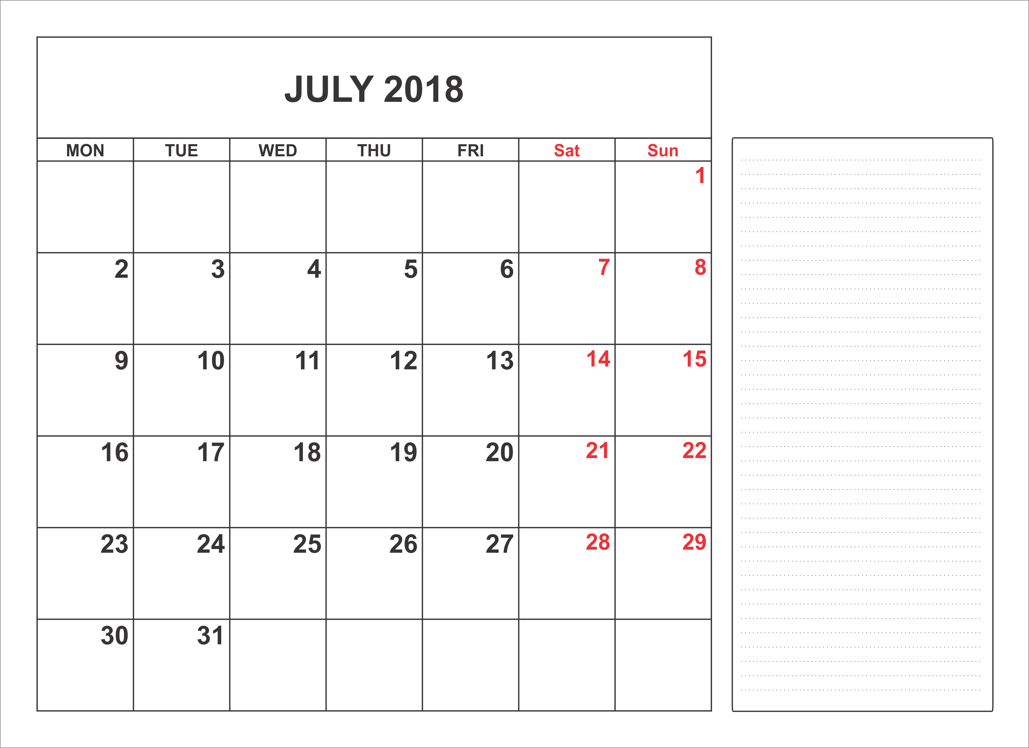 Calendar 2018 July Events