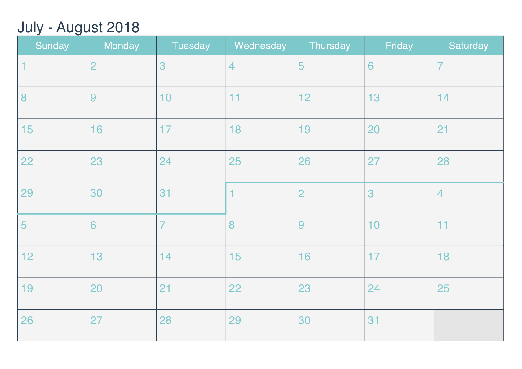 Calendar 2018 July Worksheet