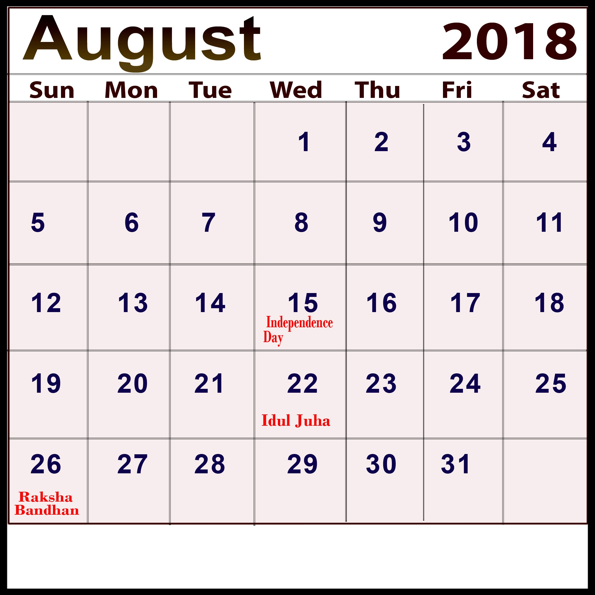 Calendar August 2018 India With Holidays