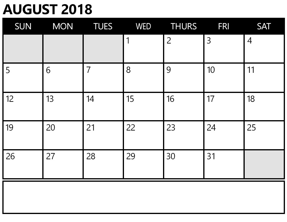 Calendar August 2018 Notes Printable
