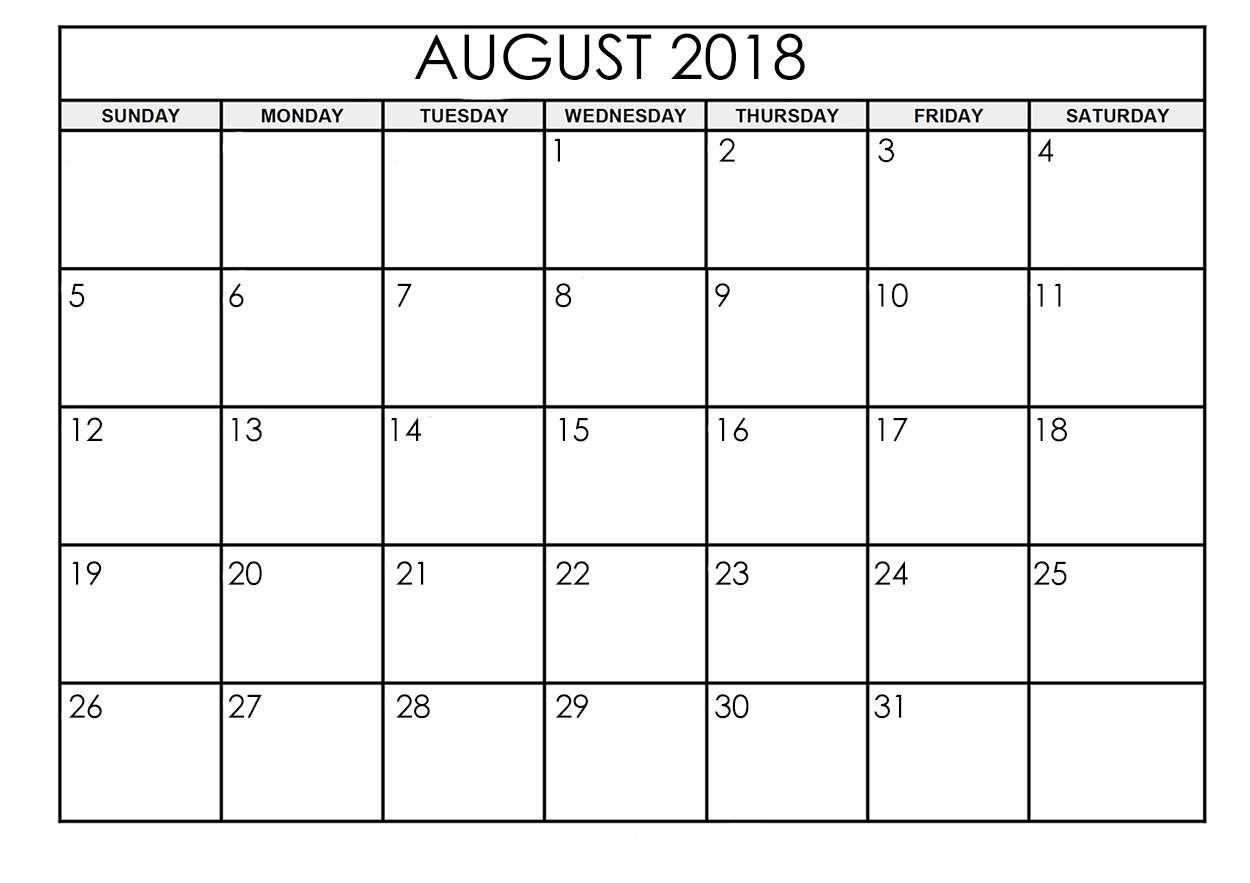 Calendar August 2018 Printable Images