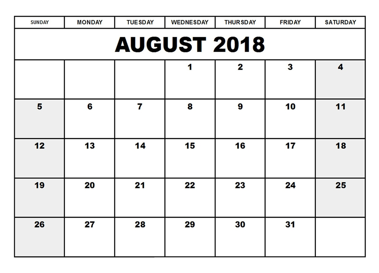 Calendar August 2018 Printable Page