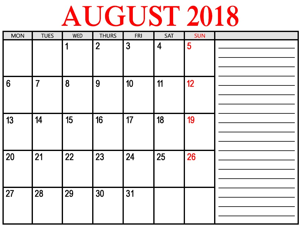 Calendar August 2018 Printable With Notes