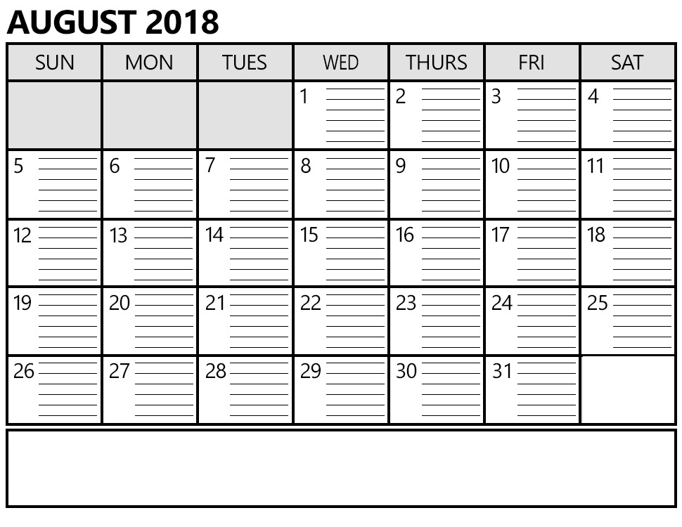 photo relating to Printable Monthly Calendar August referred to as Calendar August 2018 Printable Totally free Template