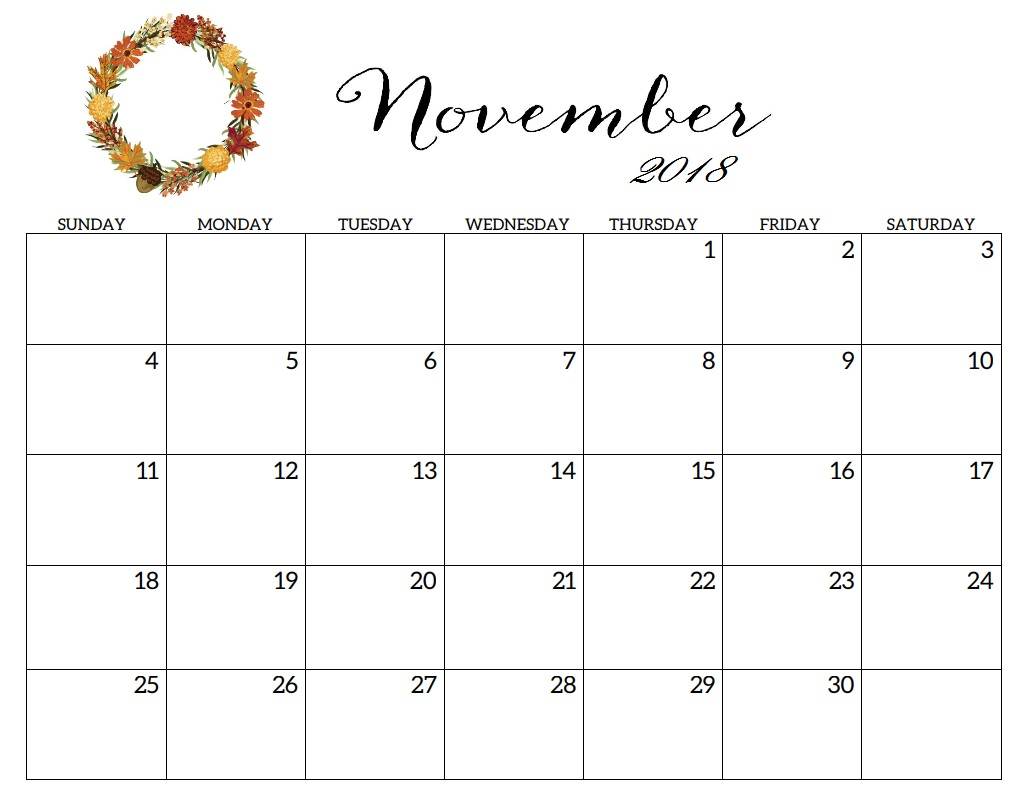 november 2018 printable calendar pdf free monthly template