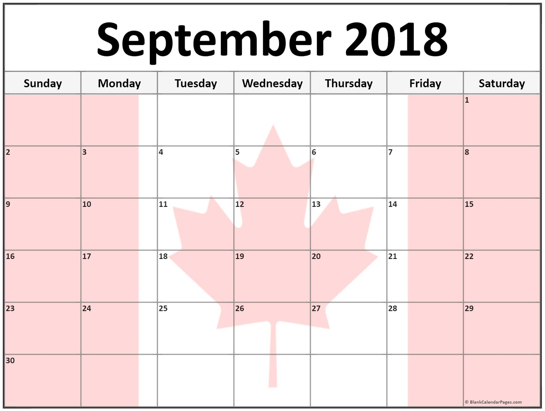 Canada Calendar For September 2018 With Flag