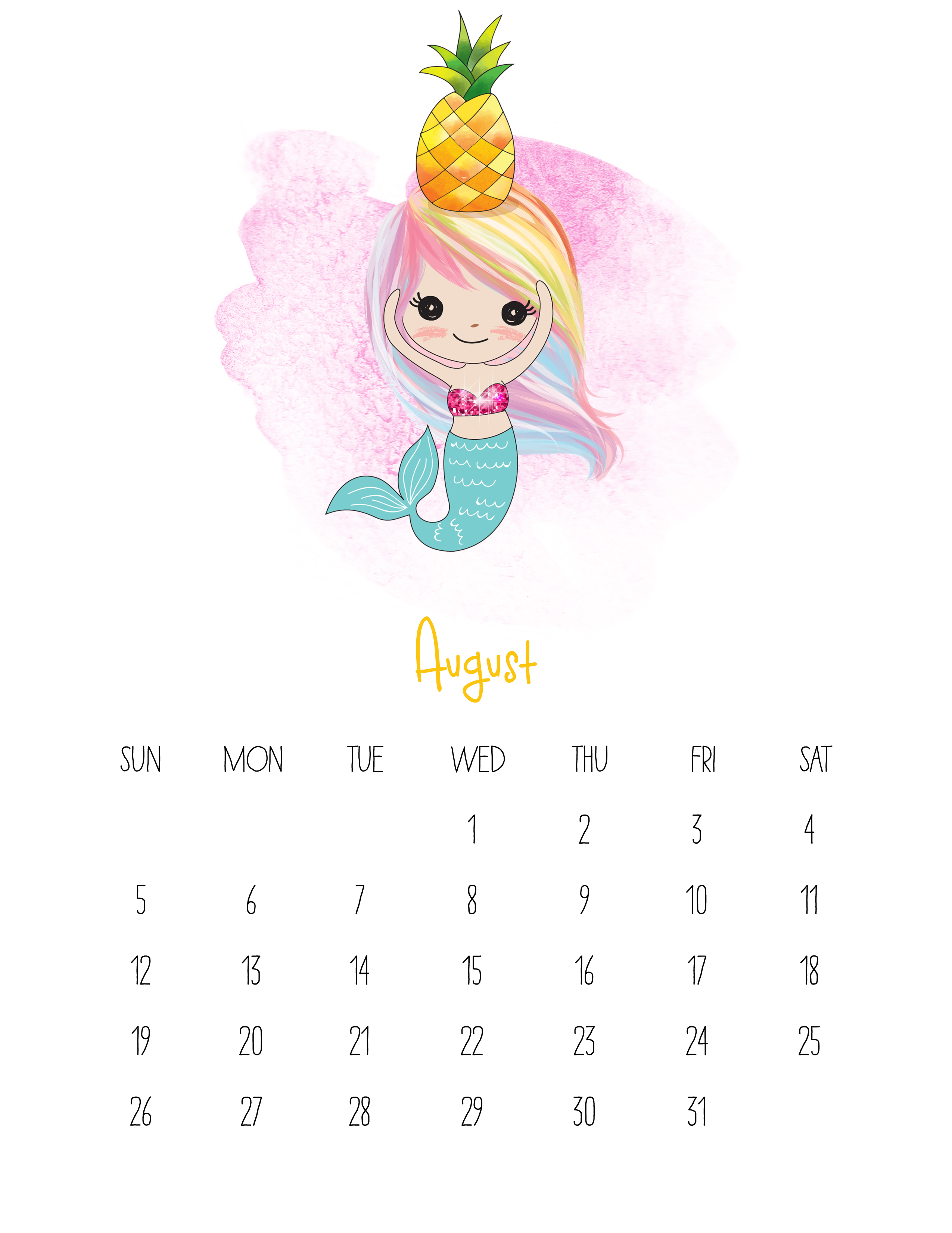 Cute August 2018 Calendar Cartoon