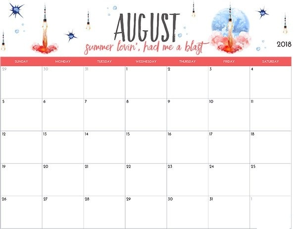 Cute August 2018 Calendar For Kids