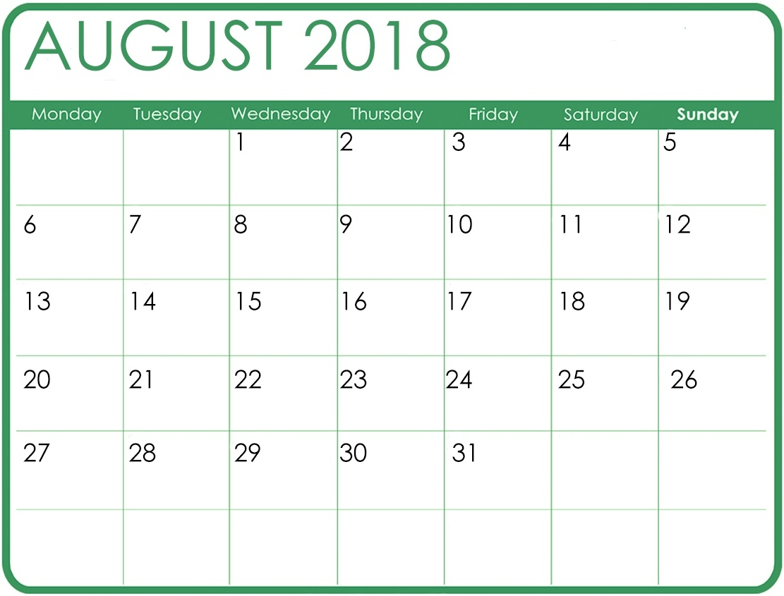 Cute August 2018 Calendar Pictures