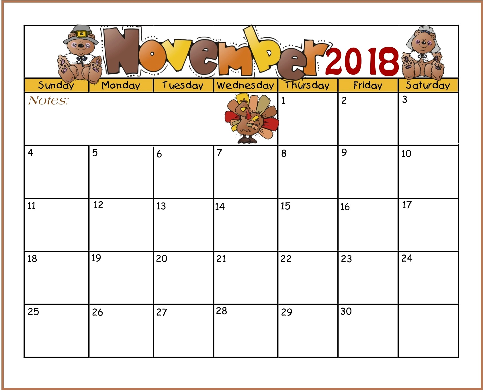 Cute November Calendar 2018 for Kids