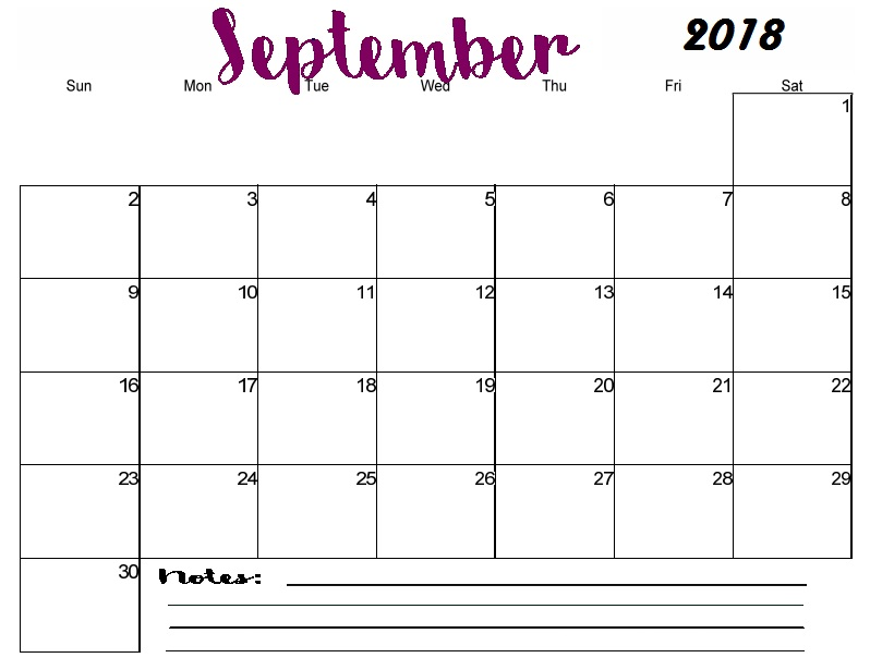 photograph relating to Printable Monthly Calendar September titled Adorable September Calendar 2018 Printable Month-to-month Template With