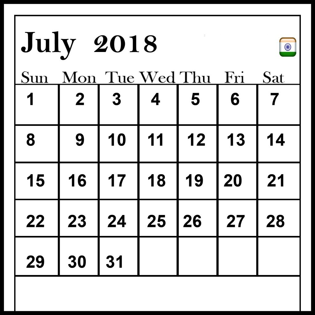 Free Printable July 2018 Calendar India