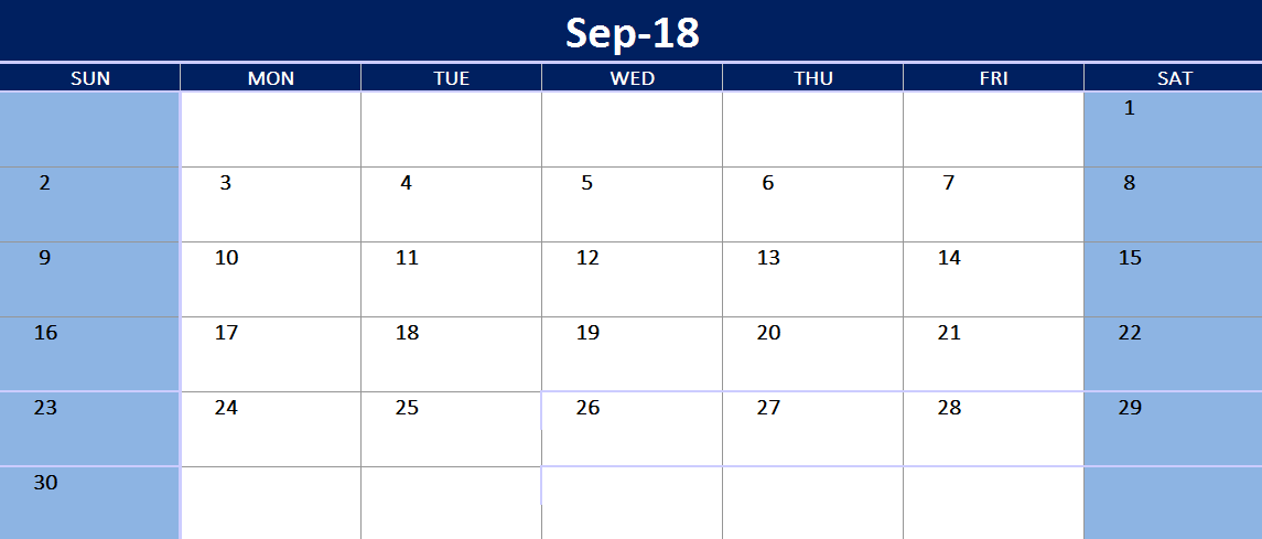 Free September Excel Calendar 2018 Printable